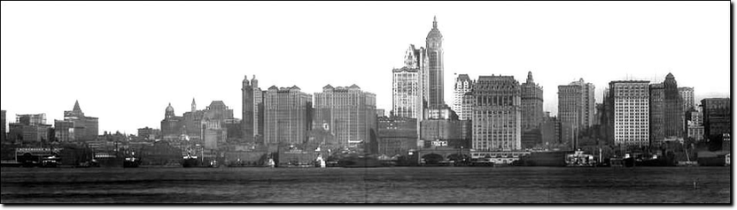 Skyline fotografica di New York City del 1910.