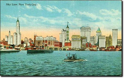 La Sky Line di New York City nel 1910 vista da Jersey City. aldilà dell'Hudson.