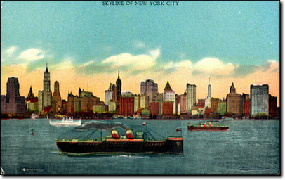 La Skyline di New York City degli Anni 20 vista dalla Governors Island.