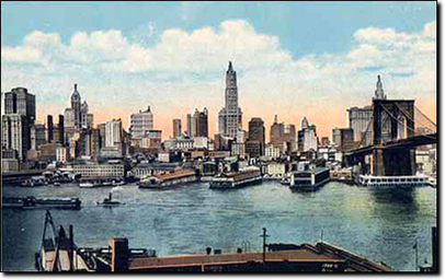 1912, la skyline di Manhattan vista da Brooklyn.
